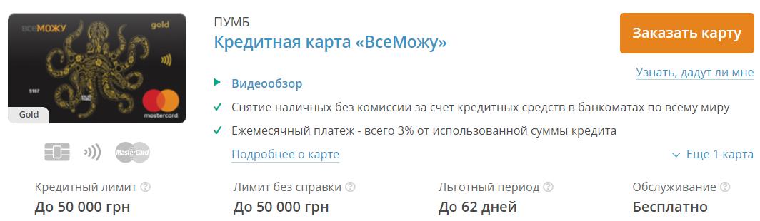 кредитные карты украина без справки о доходах
